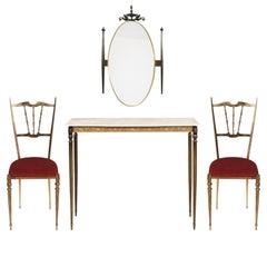 Midcentury Art Nouveau Brass Entrance Console Mirror Chairs Gio Ponti Style