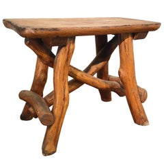 Antique Hand-Crafted Rustic and Organic Oak Stool for Indoor or Outdoor