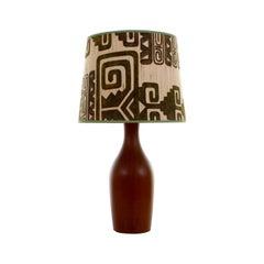 Teak Table Light, Large Danish Teak Lamp Stand, 1960s, Vintage Shade Included