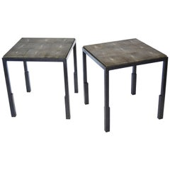 Pair/Set of Handmade Blackened Steel and Shagreen Side Tables by J.M. Szymanski