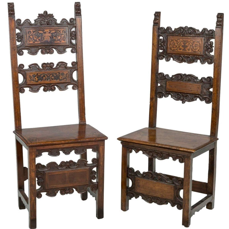 17th Century Pair of Lombardian Italian Swiss Carved Chairs For Sale