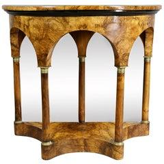 Biedermeier Figured Walnut Demilune Console Table