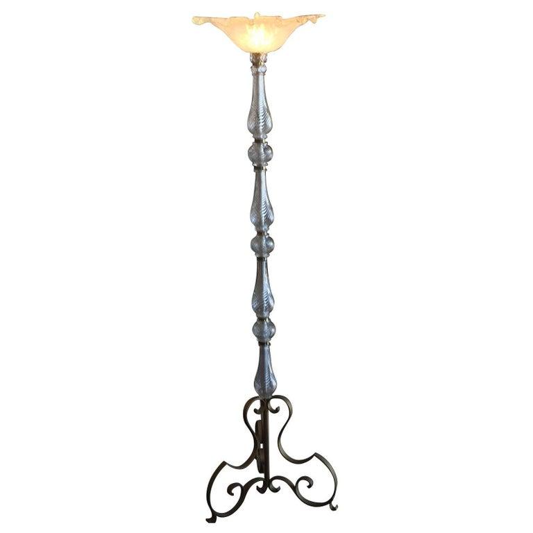 Art Deco Murano Glass Standard Floor Lamp Uplighter For Sale at 1stdibs