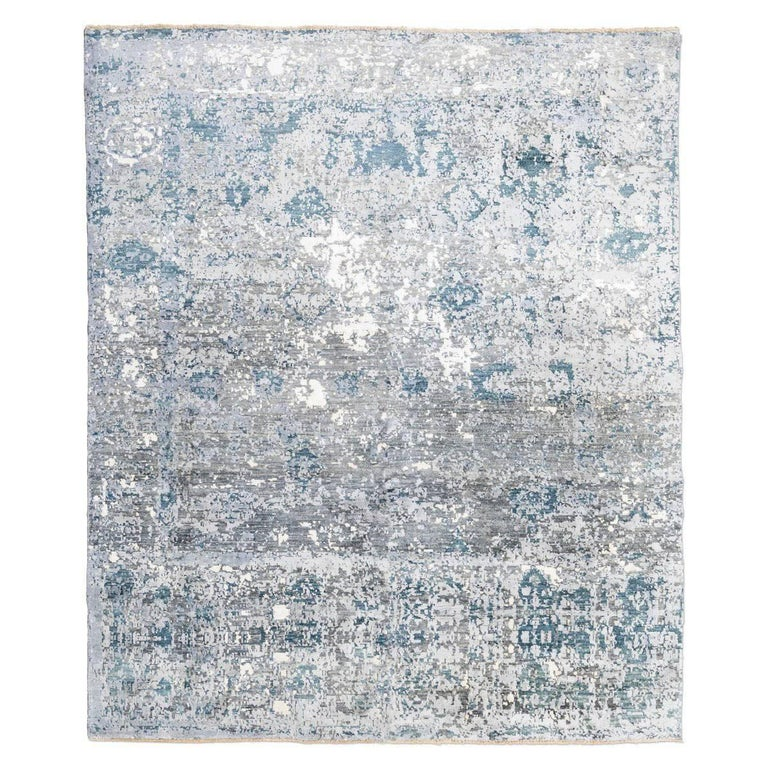 Modern Silk Rug: Contemporary Rug Silk And Wool In Grey And Blue Colors For