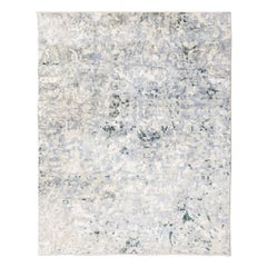Contemporary Rug Silk and Wool in Grey Color