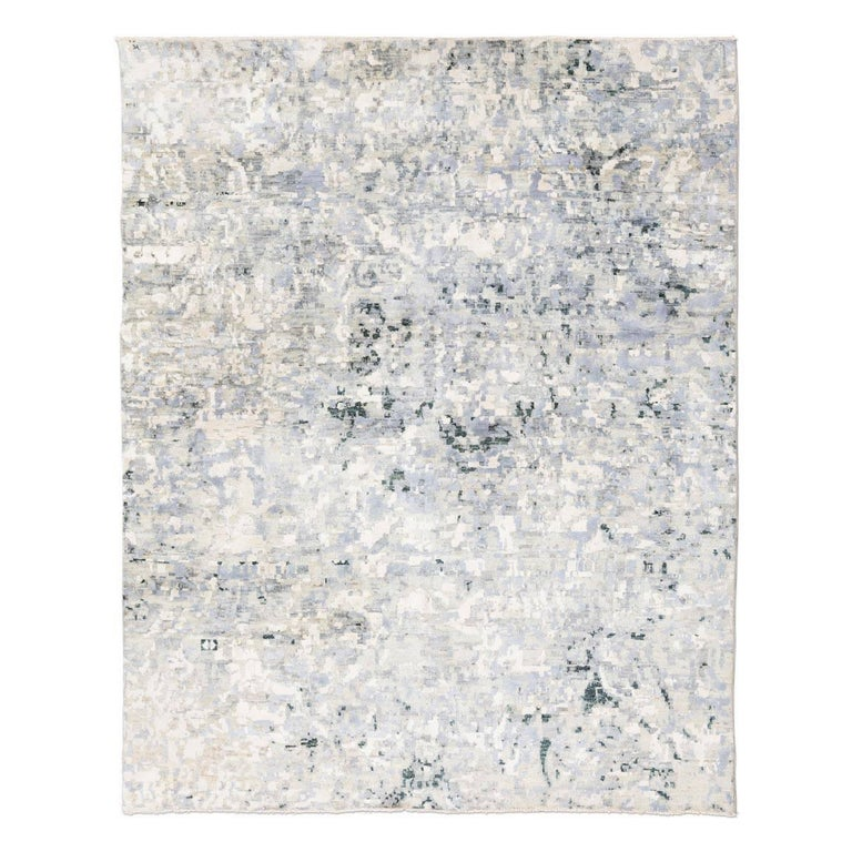 Wool Silk Rugs Contemporary: Contemporary Rug Silk And Wool In Grey Color For Sale At