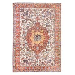 19th Century Persian Wool Rug, Ispahan, Medallion Design, circa 1890