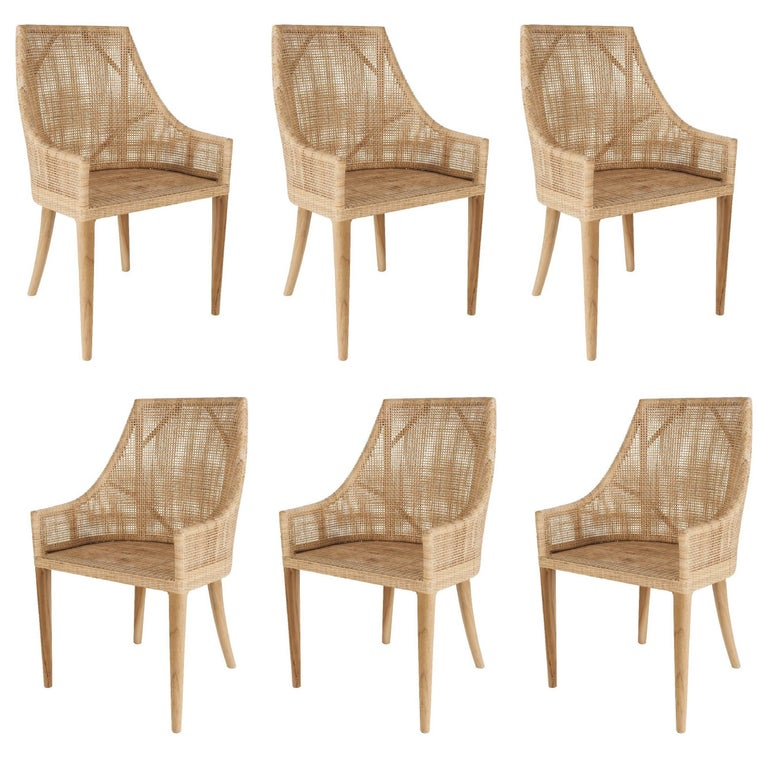 Rattan and wooden set of six armchairs at 1stdibs for Piscine d eau cognac