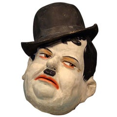 Vintage Paper Mâché Parade Carnival Head Representing Oliver Hardy