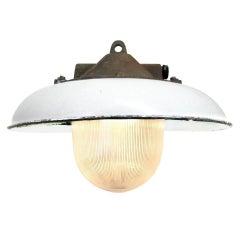 White Enamel Vintage Industrial Cast Iron Holophane Glass Pendant Lamps (14x)