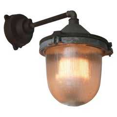 Cast Iron Vintage Industrial Holophane Glass Wall Light (20x)
