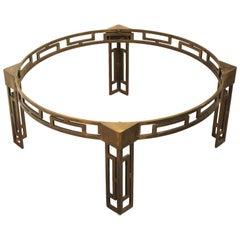 Modern Mastercraft Style Round Greek Key Brass Coffee Table Base