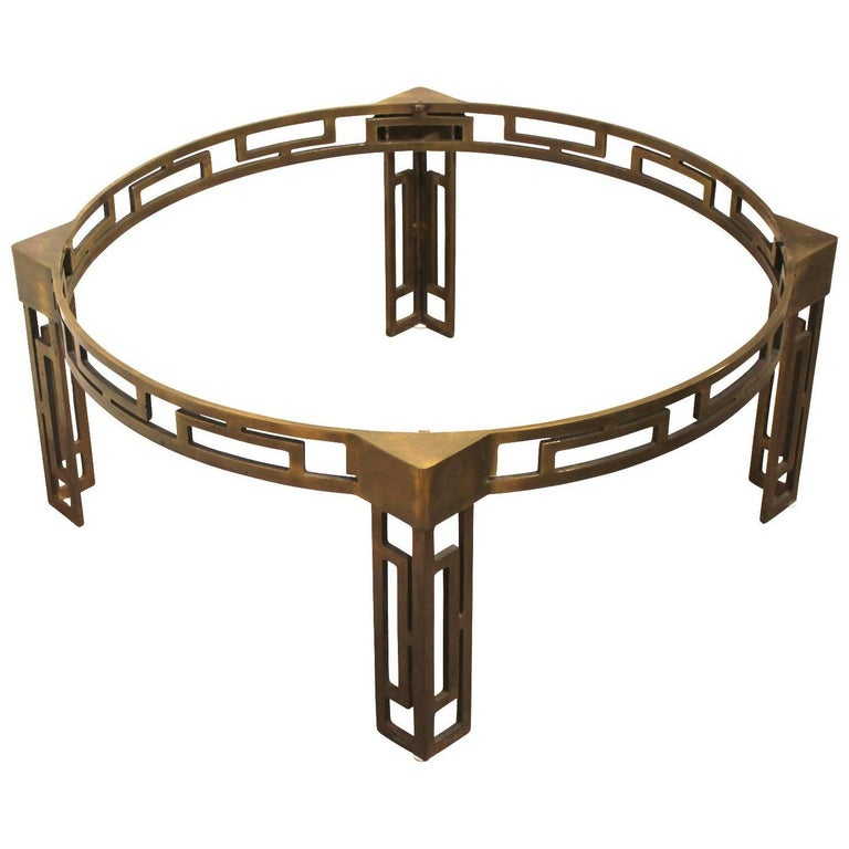 modern mastercraft style round greek key brass coffee table base at 1stdibs. Black Bedroom Furniture Sets. Home Design Ideas