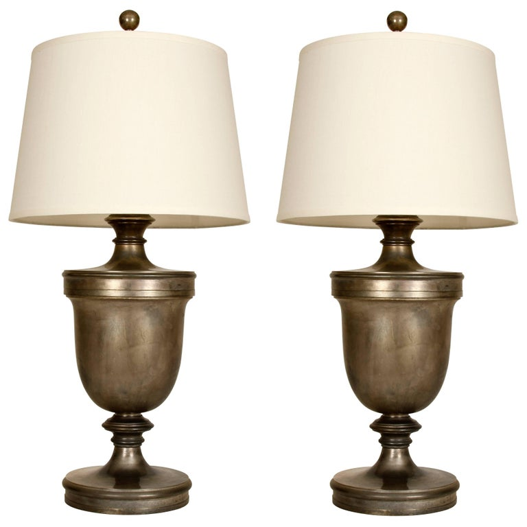 Pair of Large Antiqued Silver Urn Lamps