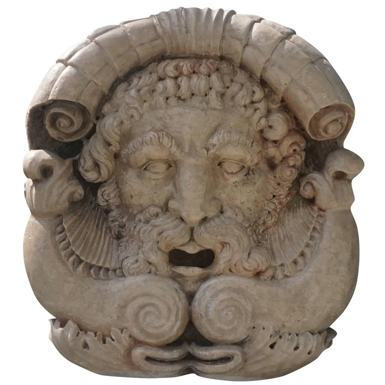 18th Century Italian Poseidon Mask in Marble