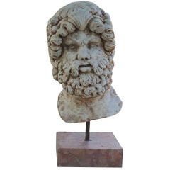 19th Century Mask or Head of Askelpios in Marble
