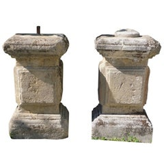 Pair of Mid-18th Century Antique Sicilian Plinths in Limestone