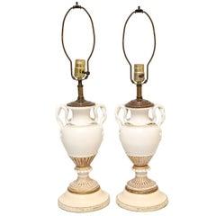Pair of Meissen, Urn-Form Porcelain Vase Lamps with Snake Handles