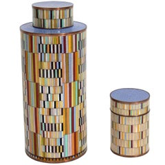 Pair of Colorful Cloisonne Canisters by Fabienne Jouvin