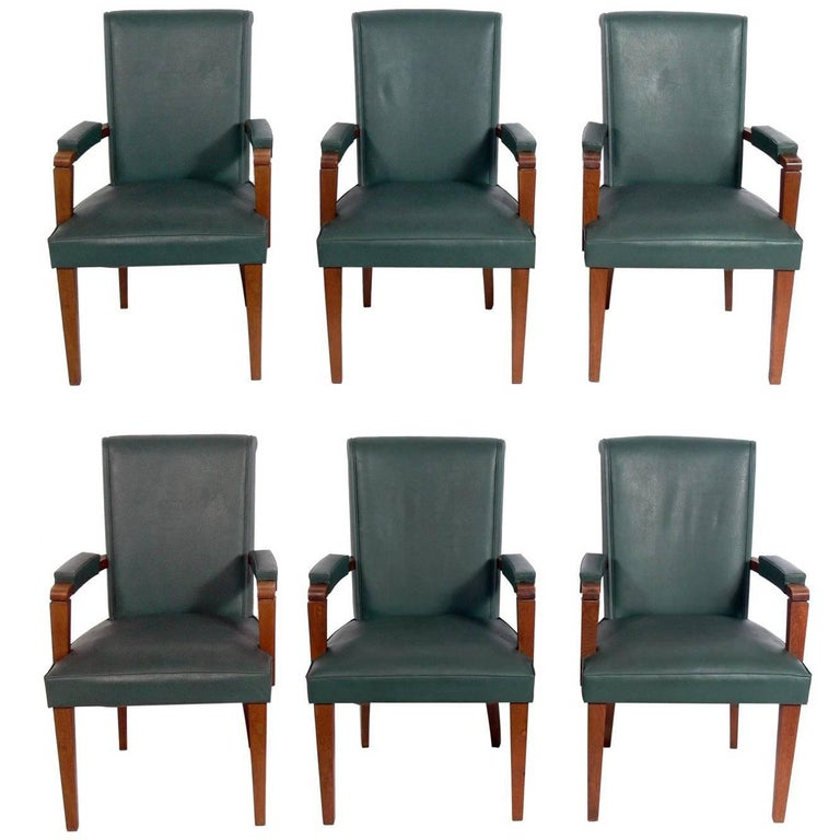 Set of Six French Art Deco Dining Chairs For Sale