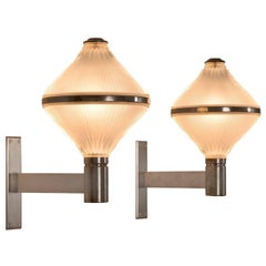 Set of Two Chrome and Opaline Wall Lights by Studio BBPR