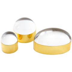 Set of Lucite and Brass Globo Boxes