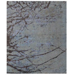 Light Blue Beige Brown Hand-knotted Wool and Silk Contemporary Abstract Rug