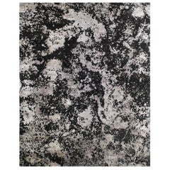 Black Grey Abstract Sustainable Wool Silk Hand-knotted Rug in Custom Size