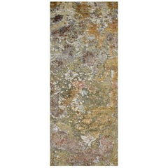 Gold Copper Beige Grey Textured Hand-Knotted Abstract Celestial Gallery Rug