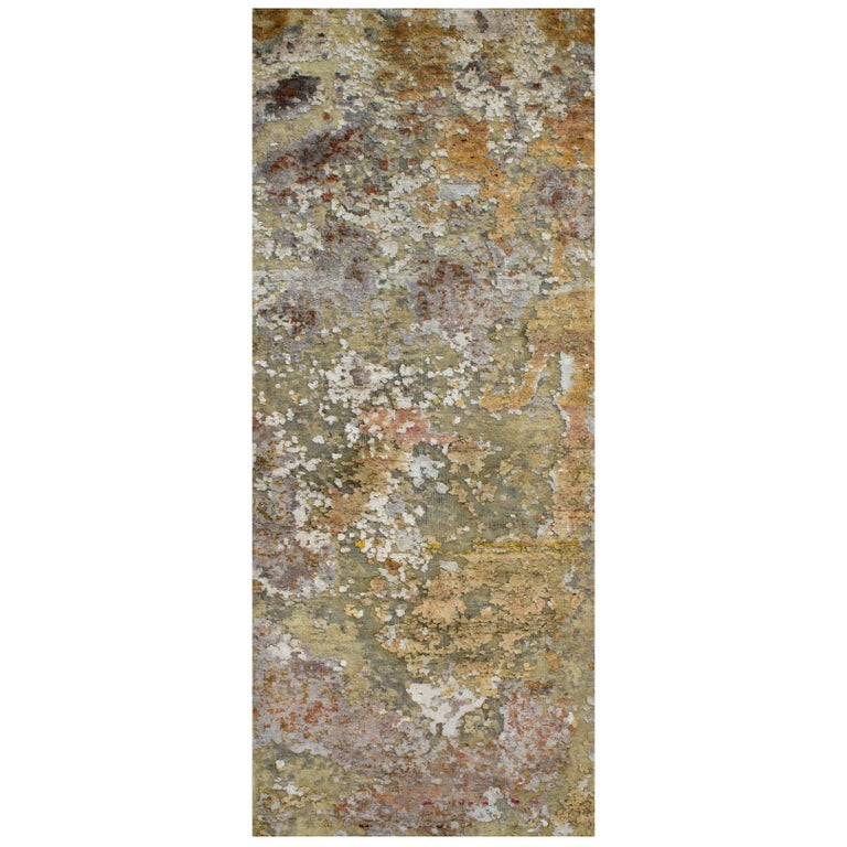 Gold Copper Beige Grey Textured Hand-Knotted Abstract Celestial Gallery Rug For Sale