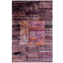 Rumi 'Lorca-Dusty Plum' Hand-Knotted, Natural Silk, Modern Rug