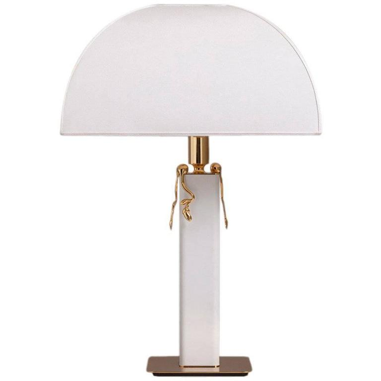 White Leather Wrapped and Brass-Plated Table Lamp 1980s