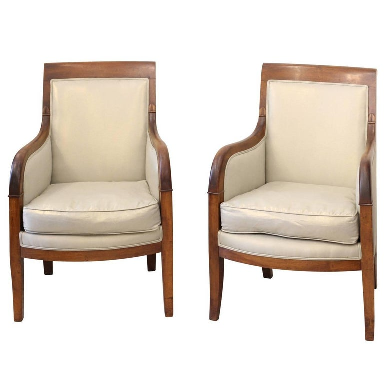 Pair of French 1850s Empire Style Walnut Bergères with Linen Upholstery