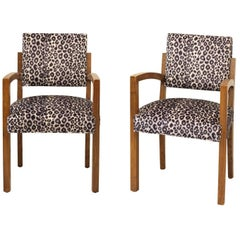 Pair of 1940s French Art Deco Mahogany Bridge Chairs with Leopard Fabric