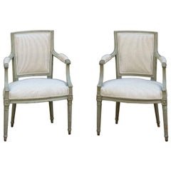 Pair of French Louis XVI Style Armchairs with Cotton Mattress Ticking Upholstery