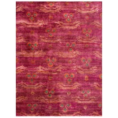 Pink Fuchsia Teal Chinese Design Hand-knotted Soft Natural Silk Transitional Rug