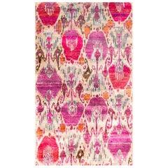 Rumi 'Walcott - Pastel' Hand-knotted, Natural Silk, Ikat Rug