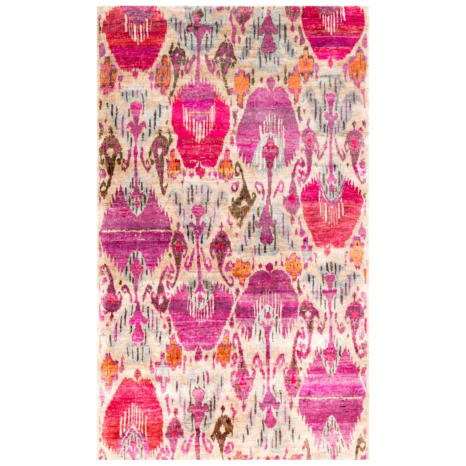 Pink Fuchsia Purple Lilac Oat Silver Beige Ikat Natural Silk Woven Rug in Stock