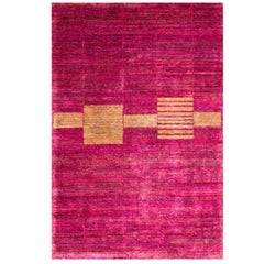 Cranberry Pink Fuchsia Mid Century Modern Hand-Knotted Natural Silk Rug in Stock