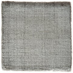 Solid Pewter Gray Hand-Loomed Bamboo Silk Neutral Rug Custom Size Rug