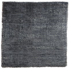 Solid Indigo Blue Hand-Loom Bamboo Silk Soft Neutral Rug in Custom Size