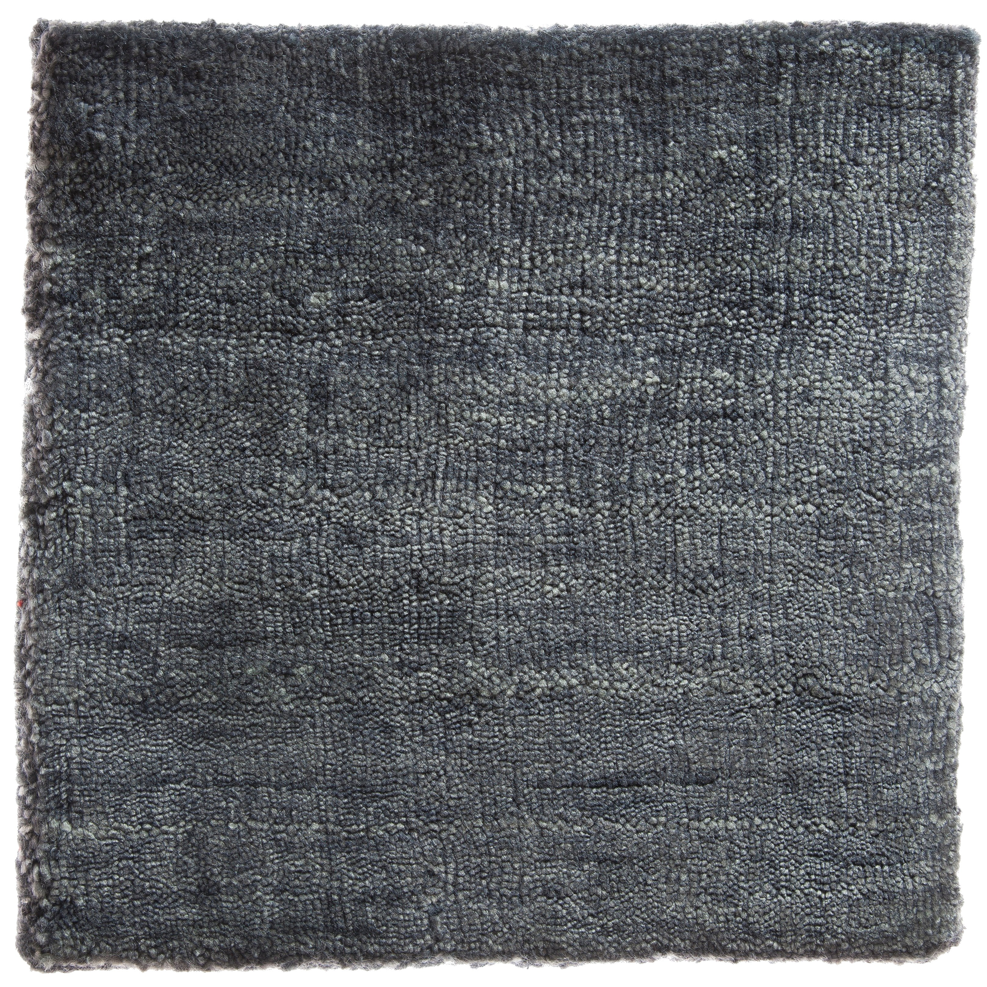 Solid Indigo Blue Hand-Loom Bamboo Silk Soft Neutral Rug in Custom Size