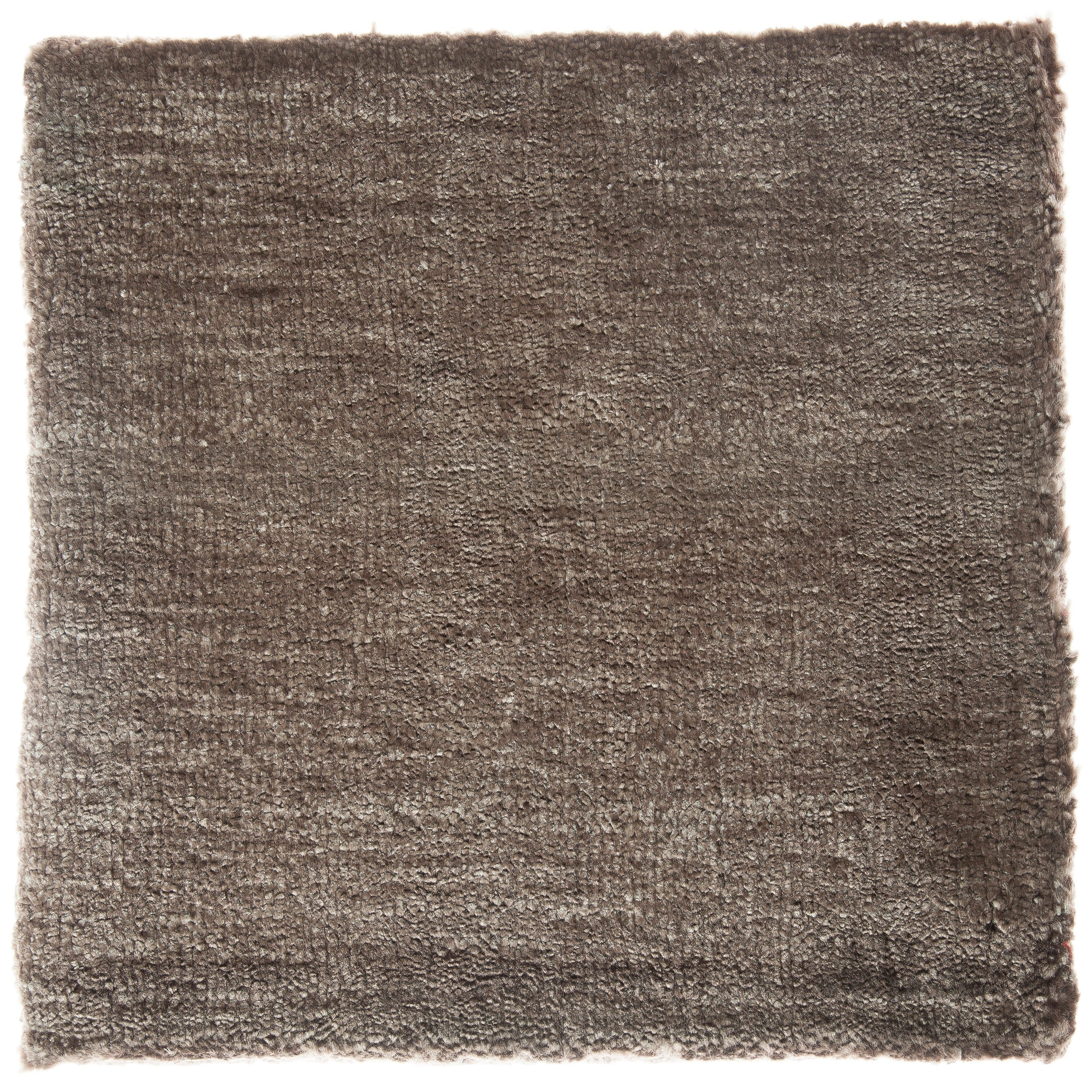 Solid Brown Simple Bamboo Silk Hand Made Rug