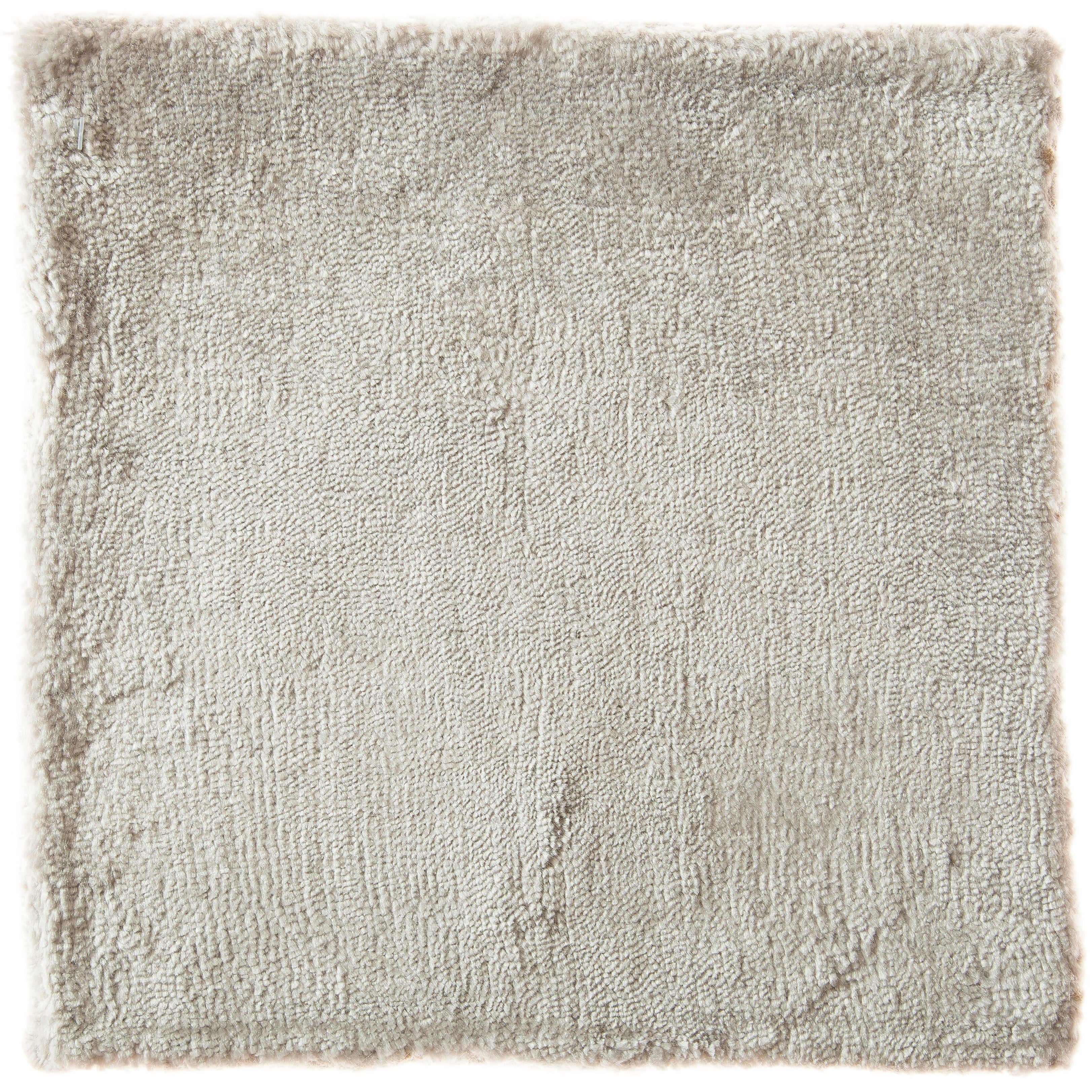 Ivory Opal Silver Tone Hand-Loom Solid Neutral Rug in Any Custom Size