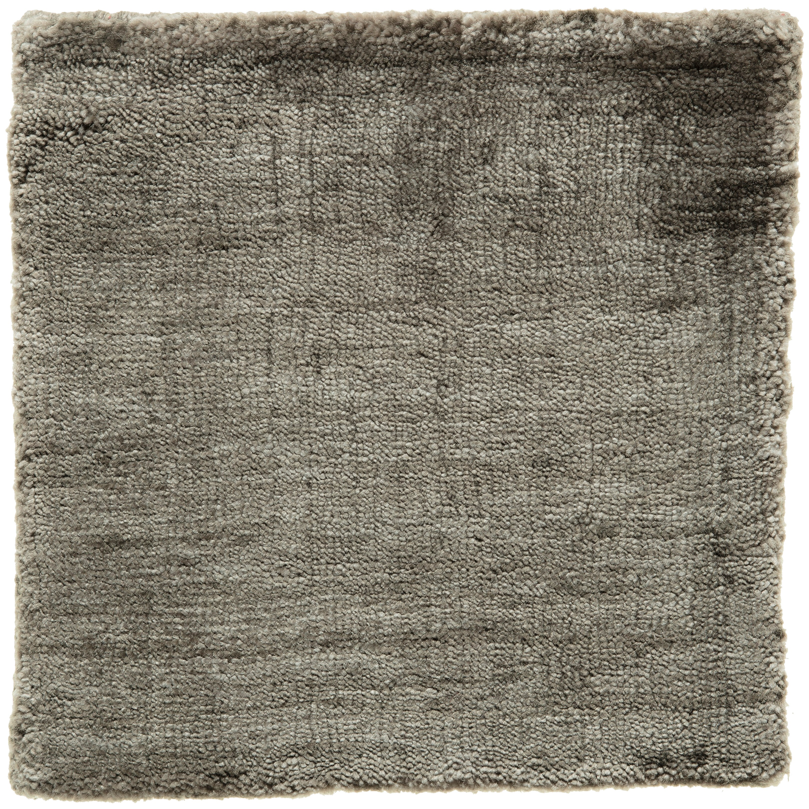 Contemporary Taupe Gray Hand-Loomed Bamboo Silk Solid Grey Rug in Any Size