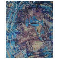 Turquoise Aqua Purple and Gold Geode Design Hand-knotted Wool and Silk Rug