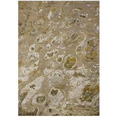 Beige Tan Camel Rug in Organic Pattern Hand-knotted Wool and Silk with Mustard