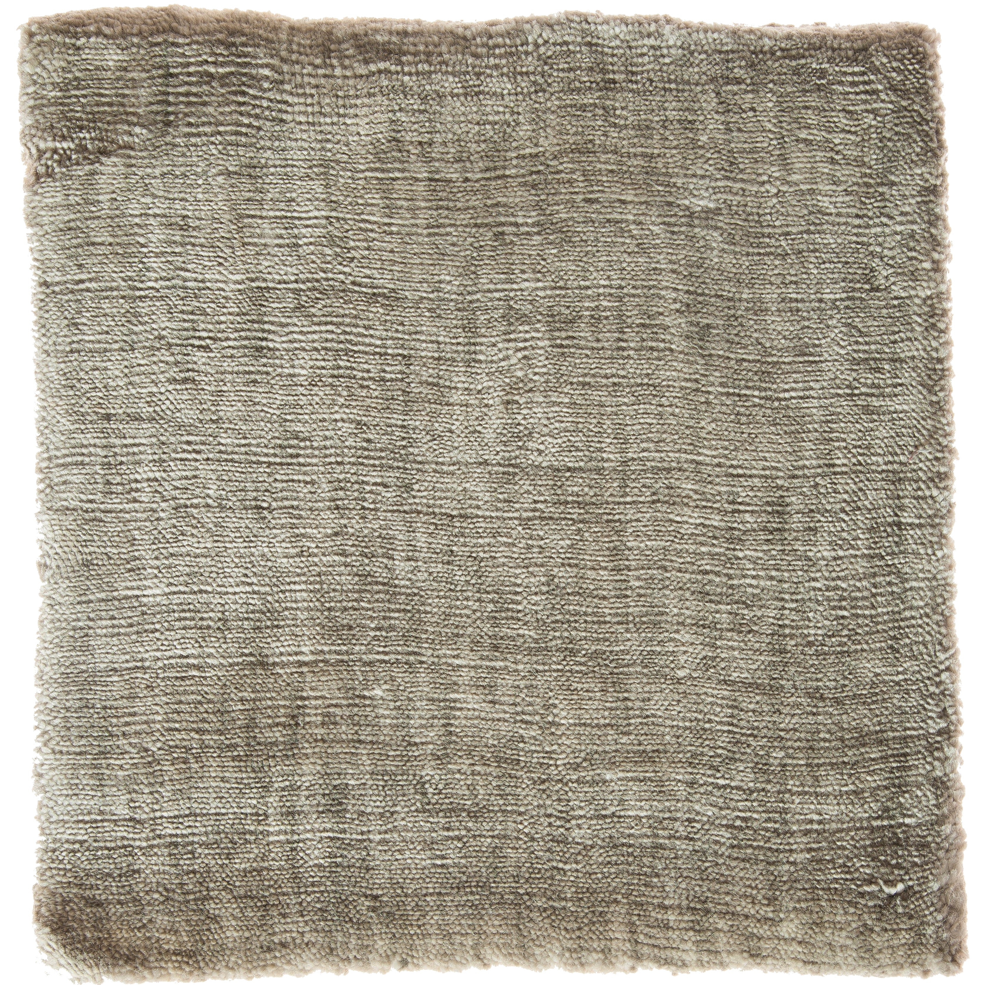 Light Green Olive Color Hand-Loomed Bamboo Silk Solid Neutral Rug in Any Size