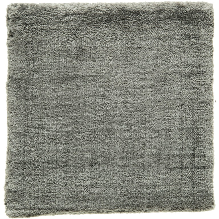 Neutral Grey Rug Hand-Loomed Bamboo Silk Solid Neutral Rug in Any Custom Size For Sale