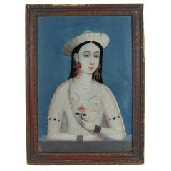 China Trade Reverse Painting on Glass Portrait of a Young Woman with Pink Flower